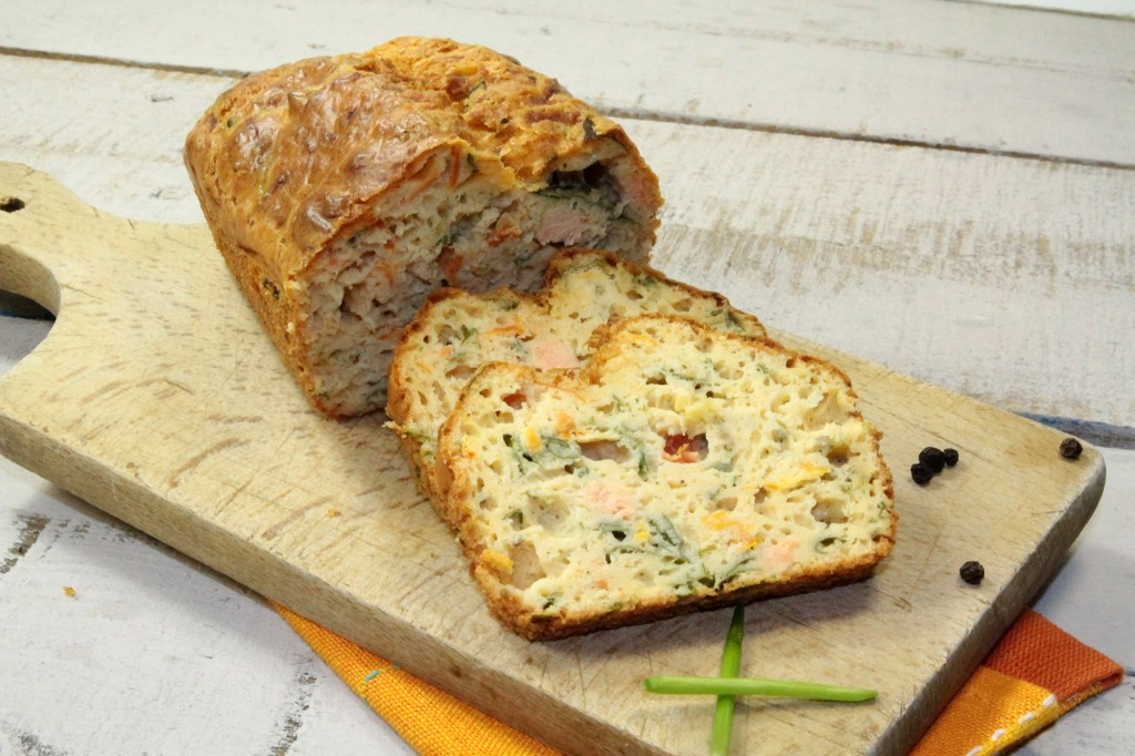Salmon and leek cake